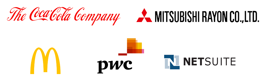 Client logos - Coca Cola, Mitsubishi, McDonalds, PWC, Netsuite